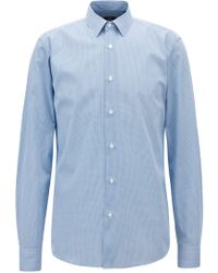 b6915f83 BOSS - Regular-fit Shirt In Cotton With Three-dimensional Print - Lyst