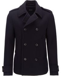 BOSS Pea Coat In Virgin Wool And Cashmere - Blue