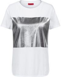 HUGO - Relaxed-fit Jersey T-shirt With Silver-foil Block Print - Lyst