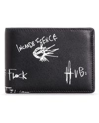HUGO - Bifold Leather Wallet With Graffiti Artwork - Lyst