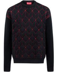 HUGO - Oversized-fit Jumper In Virgin Wool With Geometric Pattern - Lyst