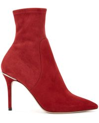 BOSS - Sock-style Ankle Boots In Italian Stretch Suede - Lyst