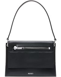 HUGO - Shoulder Bag In Matt Leather With Zip Detail - Lyst