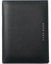 BOSS - Textured Black Leather A5 Folder With Notepad - Lyst