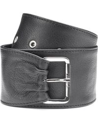 HUGO - Wide Belt In Nappa Leather With Asymmetric End - Lyst
