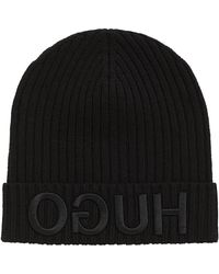 HUGO - Knitted Beanie With 3d Reversed Logo - Lyst