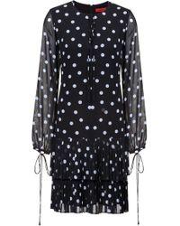 HUGO - Dot-print Dress With Tiered Plissé Skirt - Lyst