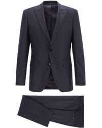 BOSS - Slim-fit Three-piece Suit In Virgin Wool Serge - Lyst