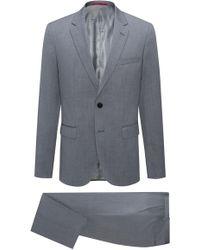 HUGO - Regular-fit Pinstripe Suit In Virgin Wool - Lyst