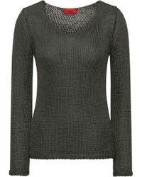 HUGO - V-neck Sweater In Shimmer-effect Tape Yarn - Lyst