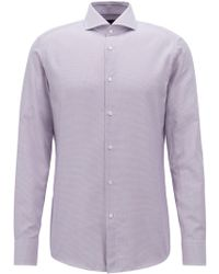 BOSS - Tailored Slim-fit Shirt In Micro-checked Italian Cotton - Lyst