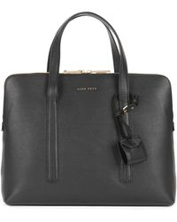 BOSS - Briefcase In Grained Italian Calf Leather - Lyst