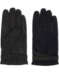 BOSS Orange - Leather Gloves With Contrast Fabric Panels - Lyst