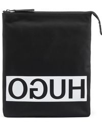 HUGO - Reverse-logo Envelope Bag In Nylon Gabardine - Lyst