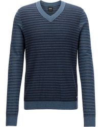 BOSS - Cotton-blend V-neck Sweater In Multi-tonal 3d Structures - Lyst