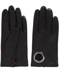 HUGO - Leather Gloves With Ring Detail - Lyst