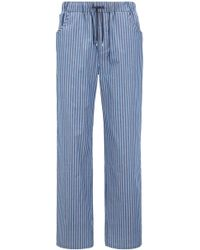 BOSS - Pyjama Trousers In Striped Cotton Twill With Pockets - Lyst