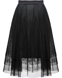 HUGO - Pleated A-line Skirt In Layered Tulle And Jersey - Lyst