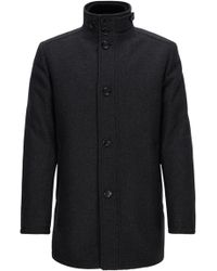 BOSS Green - Wave-blocker Coat In A Wool Blend - Lyst