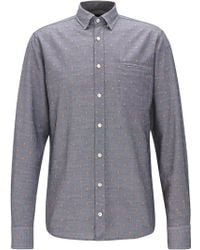 BOSS - Regular-fit Cotton Shirt With Contrast Fil Coupé - Lyst