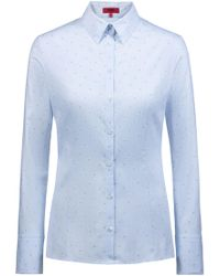 HUGO - Slim-fit Blouse In Cotton With Fil-coupé Pattern - Lyst