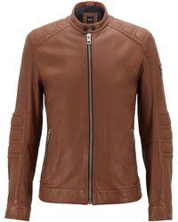 60f2d9450 BOSS - Slim-fit Leather Biker Jacket - Lyst