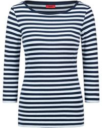 HUGO - Slim-fit Striped Jersey T-shirt With Boat Neckline - Lyst