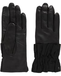 HUGO - Leather Gloves With Ruched Cuffs - Lyst