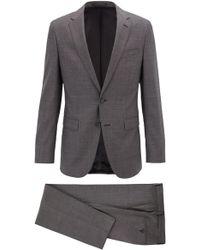BOSS - Slim-fit Suit In Micro-pattern Virgin Wool Twill - Lyst
