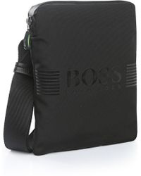 BOSS Green Mini Bag In Fabric Blend With Leather-effect Trim: 'pixel_s Zip Env'