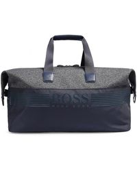 BOSS Green - Sporty Weekend Bag In Nylon And Jersey - Lyst