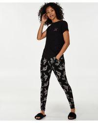 Hunkemöller Pyjamabroek Jersey Loose Fit - Zwart
