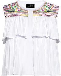 Saloni - Cleo Embroidery Ruffle Cropped Top - Lyst