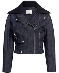 Tibi - Removable Collar Oversized Denim Cropped Moto Jacket - Lyst