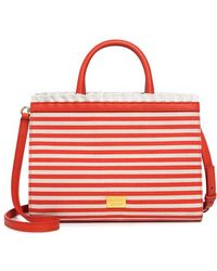 Boutique Moschino - Striped Ruffle Satchel - Lyst