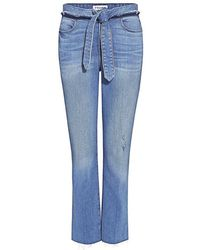 FRAME - Le High-rise Straight-leg Belted Cropped Jeans - Lyst