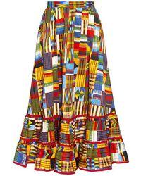 Stella Jean - Printed A Line Ruffled Midi Skirt - Lyst