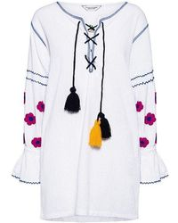 Sensi Studio - Floral Embroidered Mini Kaftan Tunic - Lyst