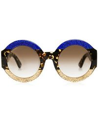 ed0d93167b8a Gucci - Glitter Tortoise Stripe Round Sunglasses - Lyst