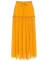 Apiece Apart - Dulce Accordion Silk Midi Skirt - Lyst