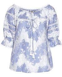 042cdbb729eb54 Lyst - Marissa Webb White Iman Crinkle Silk Blouse in White