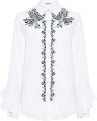 SUNO - Embroidered Ruffle Sleeve Shirt - Lyst