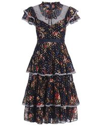 Needle & Thread - Winter Forest Floral Embroidered Chiffon Knee Length Dress - Lyst