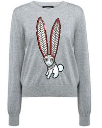 Markus Lupfer - Grace Mexican Hare Animal-print Embellished Sweater - Lyst
