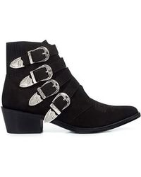 Toga Pulla - Multi Buckle Suede and Leather Ankle Boots - Lyst