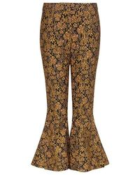 Mother Of Pearl - Louie Floral Jacquard Flare Cropped Pants - Lyst