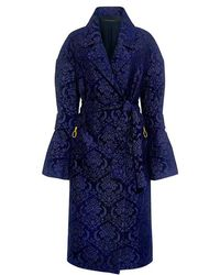 Mother Of Pearl - Jesse Pearl Bell Sleeve Velvet Embroidery Wrap Midi Coat - Lyst