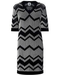 M Missoni - Bicolor Zig Zag V-neck Mini Dress - Lyst