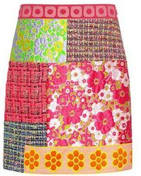 Boutique Moschino - Floral And Plaid Patchwork Tweed Mini Skirt - Lyst