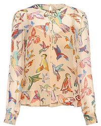 RED Valentino - Hummingbird Animal-print Ruffle Silk Blouse - Lyst